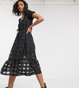 Reclaimed Vintage inspired organza check midi dress with puff sleeve