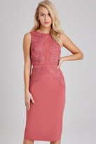 Little Mistress Cassidy Sienna Blush Lace-Trim Midi Pencil Dress