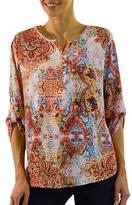Haggar Tunic Blouse With Sleeve Tabs