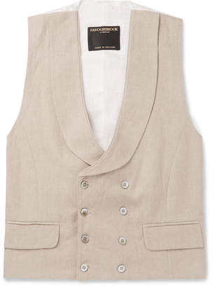 Favourbrook Stone Evering Double-Breasted Linen Waistcoat
