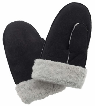 Lambland Ladies Genuine Sheepskin Whole Piece Mittens with Sheepskin Cuff in Black