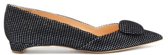 Rupert Sanderson New Aga Pebble Point-toe Glittered-velvet Flats - Black Silver
