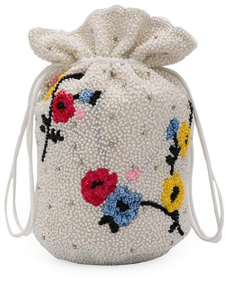 Ganni Floral Beaded Bucket Bag