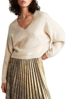 MANGO Chunky-Knit V-Neck Sweater