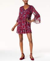 Kensie Printed Peasant Dress