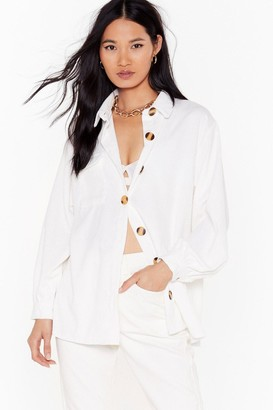 Nasty Gal Womens Don't Texture Back Oversized Corduroy Shirt - White