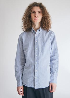 Gitman Brothers Men's Seersucker Stripe Long Sleeve Shirt in Blue, Size Small | 100% Cotton