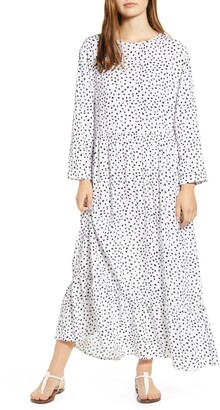 BeachLunchLounge Pia Dot Pattern Long Sleeve Crepe Dress