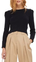 Topshop Women's Puff Sleeve Ribbed Sweater