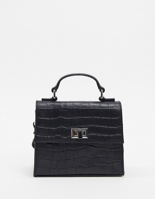 ASOS DESIGN LEATHER cross body croc mini satchel bag