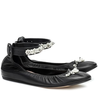 Simone Rocha Embellished leather ballet flats