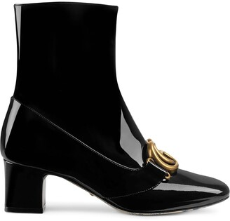 Gucci Patent leather ankle boot with Double G