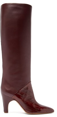 Gabriela Hearst Rimbaud Patent-leather Panel Knee-high Boots - Womens - Burgundy