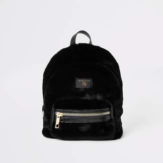 River Island Womens Black faux fur mini backpack