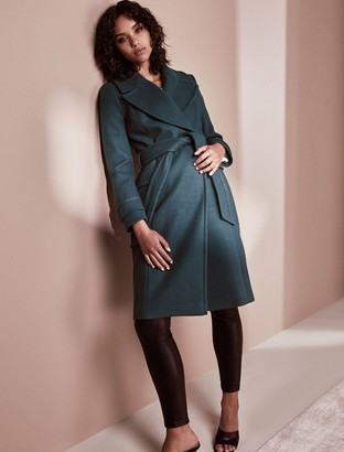 Forever New Stella Long Wrap Coat - Teal - 10