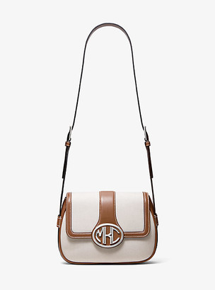Michael Kors Monogramme Cotton Canvas and Leather Shoulder Bag - Luggage Brown