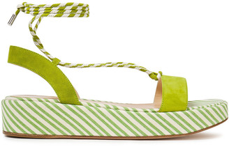 Gianvito Rossi Lace-up Striped Canvas And Suede Platform Sandals