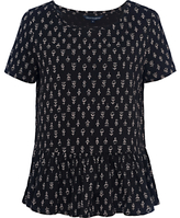 French Connection Rossine Jersey Top, Black/White