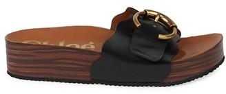 Chloé Lauren Leather Platform Slides