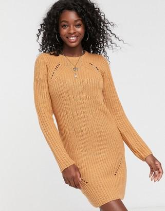 Brave Soul pointelle jumper dress in camel