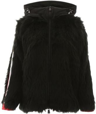 Moncler Stripe Trim Hooded Fur Coat