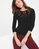White House Black Market Lace-Yoke Pullover Sweater