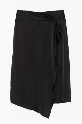 Nasty Gal Womens Drape Your Time Satin Plus Midi Skirt - Black - 16, Black