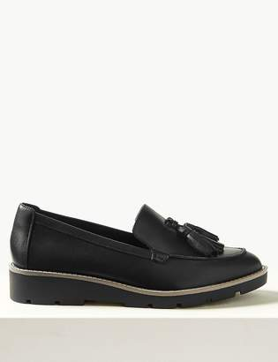 M&S CollectionMarks and Spencer Leather Flatform Cleat Sole Tassel Loafers