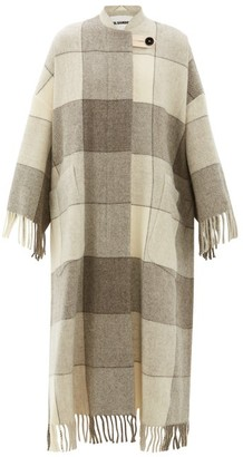 Jil Sander Checked And Tassel Trimmed Wool Cape Coat - Womens - Ivory Multi