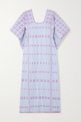 Pippa Holt - + Net Sustain Embroidered Striped Cotton Kaftan - Blue