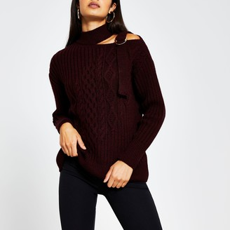 River Island Womens Burgundy cable knit choker neck jumper