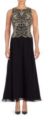 J Kara Petite Embellished Popover Gown
