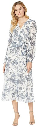 Lauren Ralph Lauren Belted Floral Georgette Dress (Colonial Cream/Blue/Multi) Women's Clothing