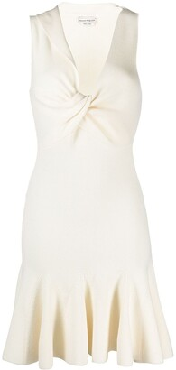Alexander McQueen Twisted Neck Pleated Knitted Dress