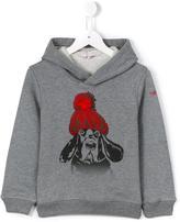 Il Gufo dog in hat hoodie