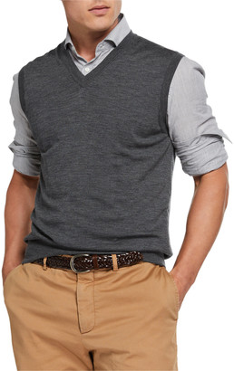 Brunello Cucinelli Men's Fine-Gauge V-Neck Pullover Vest