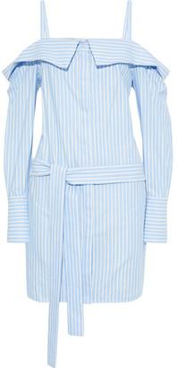 Victoria Victoria Beckham Cold-shoulder Belted Striped Cotton-twill Mini Dress