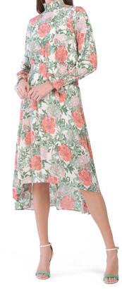 Long Sleeve Smock Detail Midi Dress