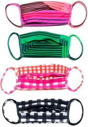 AMIR SLAMA Striped Print Face Masks (Pack Of 4)