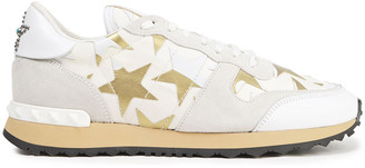 Valentino Leather-appliqued Canvas And Suede Sneakers