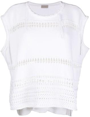 Mrz Cap-Sleeve Open-Knit Top