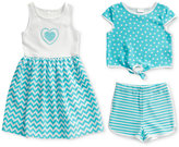 Sweet Heart Rose 3-Pc. Dress, Popover Top & Shorts Set, Little Girls (2-6X)