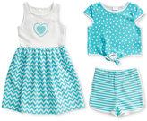 Sweet Heart Rose 3-Pc. Dress, Popover Top & Shorts Set, Toddler & Little Girls (2T-6X)
