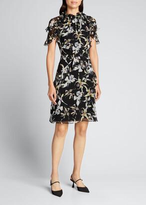 Jason Wu Collection Orchid Print Silk Chiffon Dress w/ Flutter Trim