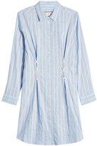 Paul & Joe Striped Cotton Shirt Dress with Lace-Up Detail