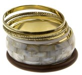 Gottex 18k Plated & Wood Mother-of-pearl Set Of Bangles.