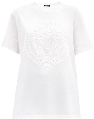 Versace Chenille-logo Cotton-jersey T-shirt - White