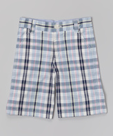 E-Land Kids Light Blue Plaid Shorts - Boys