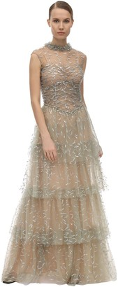 Sandra Mansour Long Glittered Tulle Dress