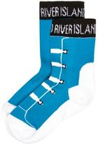 River Island Mini boys blue sneaker socks